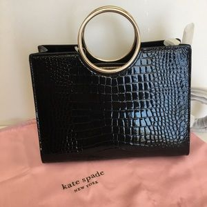 Kate Spade Medium Black Croc embossed satchel